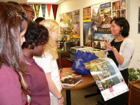 BMHS students visit with a college admissions officer in the Counseling Center.